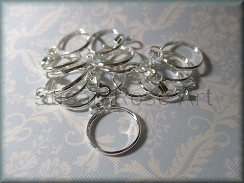 50 Silver Plate 20mm Cinch Mount Cabochon Settings