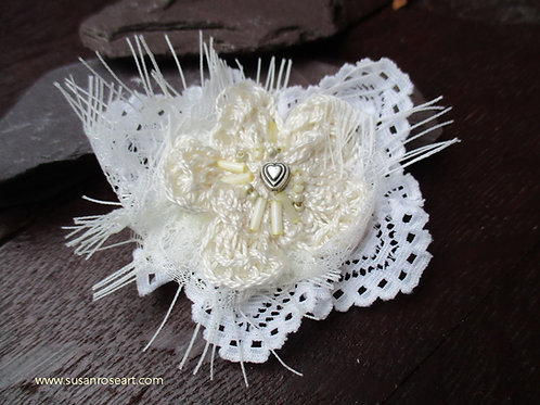 Ivory Crochet Flower Love Brooch