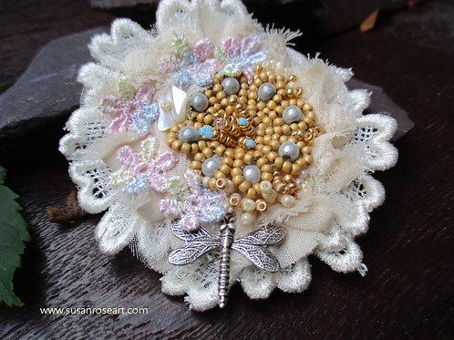 Beaded Lace Love Brooch