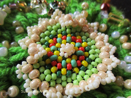 Gorgeous Garden Bead and Crochet Brooch