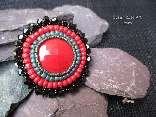 Hand Beaded Glass Cabochon Ring