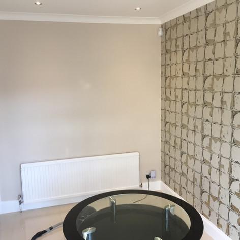 Ktchen feature wall wallpaper hanging in East London - Barking