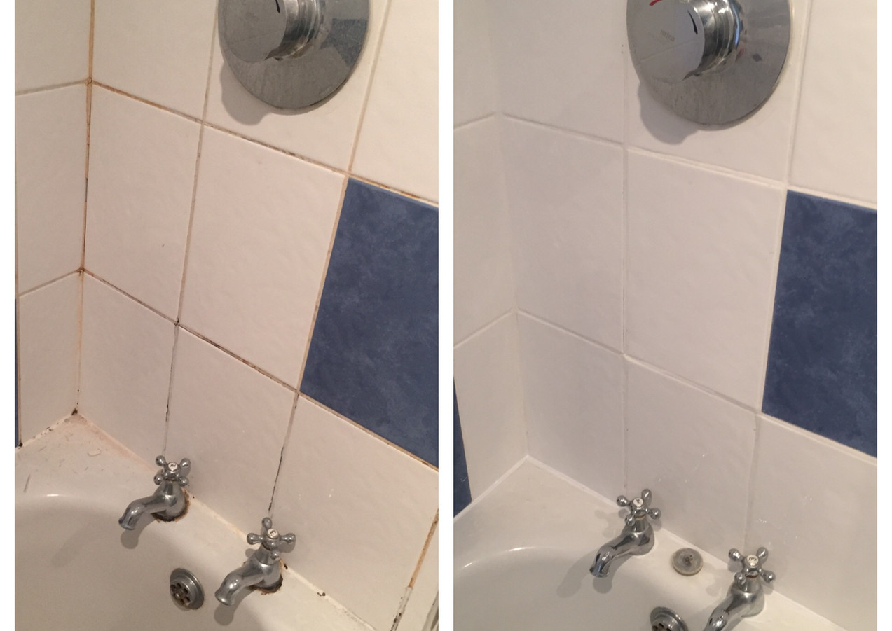 Re silicone and regrouting bathrom in South London - Lee