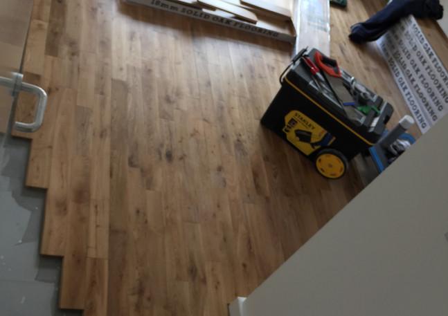 Wooden oak flooring installation