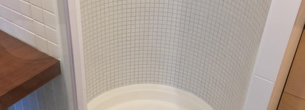 Shower cabin tiled mosaic
