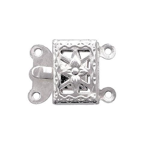 Box Clasp • 2-Strand • Rectangle Filigree • 15x11mm • Rhodium-Plated • 44BOX-230-1511-61 | Smoky Mountain Beads