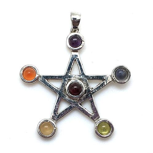 Gemstone Chakra Pentagram • 37x35mm • 56100CHKR-3735-12 | SmokyMountainBeads.com