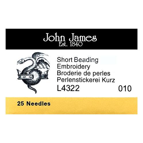 John James Needles • Size 10 Short • 25 count   SmokyMountainBeads.com