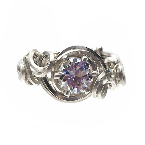 Cubic Zirconia Sterling Silver Ring • Wire-Wrapped • Size 6 • RG-S15060CZ | SmokyMountainBeads.com
