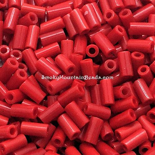 Opaque Red Bugle • 3mm • 0310-BB-408 | SmokyMountainBeads.com