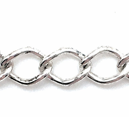 Curb Chain • Oval • 10.6x8x1.4mm • Silver-Plated • 36-CB-11814-11 | SmokyMountainBeads.com