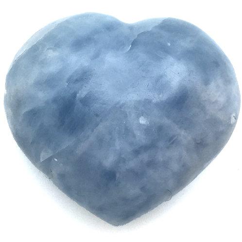 Blue Calcite Heart • Madagascar • 263.9 grams ~ 76x67mm