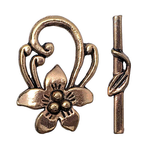 Flower & Leaf Toggle Clasp • 29x21x6.5mm • Antiqued Brass • 37-2921-21 | Smoky Mountain Beads