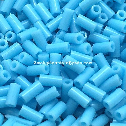 Opaque Turquoise Blue Bugle • 3mm • 0310-BB-413   SmokyMountainBeads.com