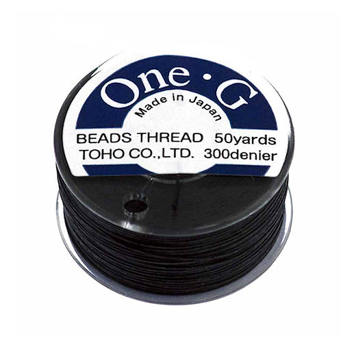 Black • One-G® Nylon Thread | SmokyMountainBeads.com