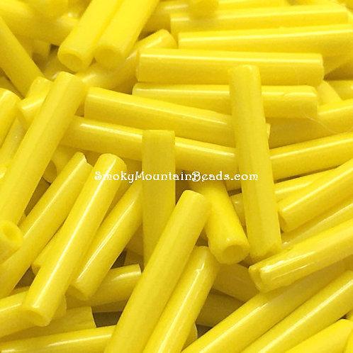 Yellow Opaque 12x2mm Bugle • 1220-BB-83110 | SmokyMountainBeads.com