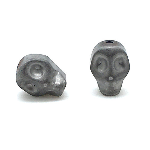Hematite Matte Silver Electroplated Skull Beads  • 10x8mm (2) • 196100HMT-E1008M-SLVR | smokymountainbeads.com