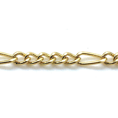 Figaro Chain • 3x2.5 & 6x2.5x0.6mm • Gold-Plated • 36-FG-326206-25 | SmokyMountainBeads.com