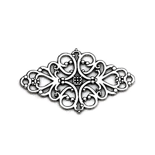 Hearts and Scrolls Filigree Link • Antique Silver-Plated • 25x41mm • 33LINK-952541-12 | SmokyMountainBeads.com