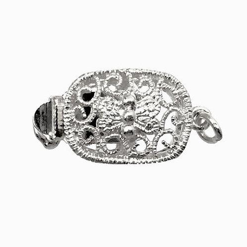 Box Clasp • 1-Strand • Oval Filigree • 17x9mm • Silver-Plated • 44BOX-169-1709-11   Smoky Mountain Beads
