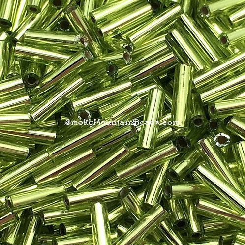 Silver-Lined Chartreuse 6x1.5mm Bugle • 0615-BB-014 | SmokyMountainBeads.com
