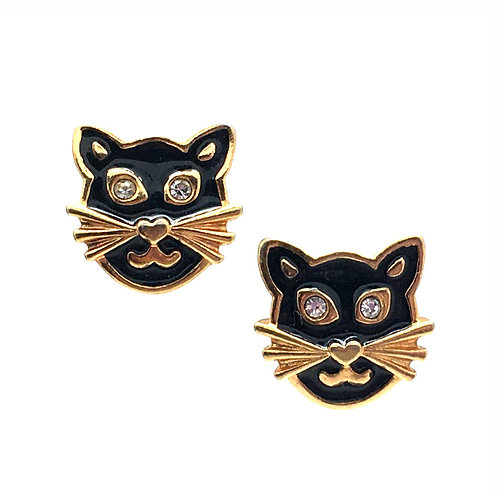 Black Cat Enamel Stud Earrings • Rhinestones • Gold-Plated • ERGP-1414-CAT | SmokyMountainBeads.com