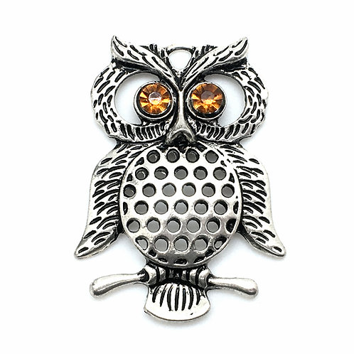 Owl Pendant Necklace • Rhinestone Eyes • 47x35mm • 56100MTL- o4735R-12   SmokyMountainBeads.com