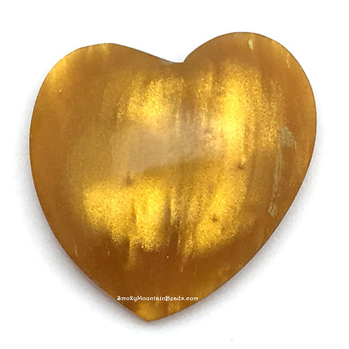 Sunflower Yellow Shimmer Bowlerite Heart Cabochon • 38x37x12mmmm • 55100BLR-95096-SYS | SmokyMountainBeads.com