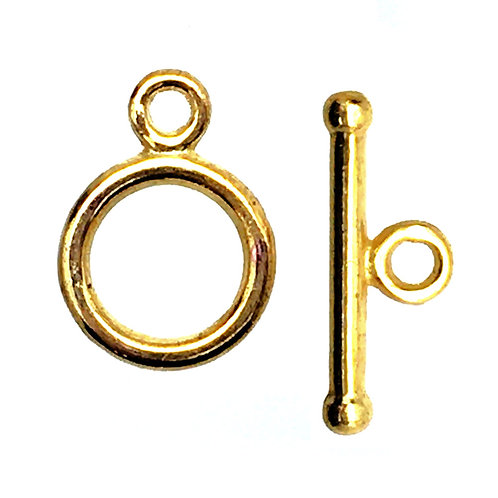 Round Toggle Clasp • 14x10x1.4mm • Gold-Plated • 44TOG-70-141016-25 | Smoky Mountain Beads