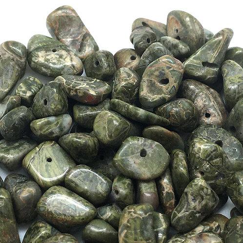 Rainforest Rhyolite Chip Beads   Smoky Mountain Beads