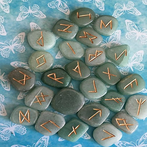 Aventurine Stone Rune Set • Gift Boxed with Chart & Bag