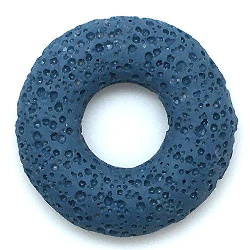 Volcanic Lava Stone Donut Bead • 32mm • 52100VLS-3208-BLUE | SmokyMountainBeads.com