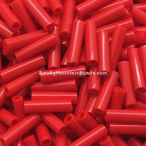 Opaque Red Bugle • 6mm • 0615-BB-408 | SmokyMountainBeads.com