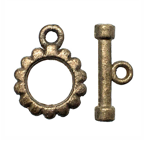 Gear Toggle Clasp • 16x12mm • Antiqued Brass-Plated Pewter • 44TOG-1612-21 | Smoky Mountain Beads