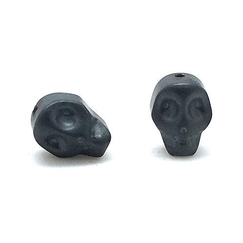 Hematite Matte Gunmetal Electroplated Skull Beads  • 10x8mm (2) • 196100HMT-E1008M-GMTL   smokymountainbeads.com