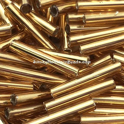 Silver-Lined Gold Bugle • 12mm • 1220-BB-03 | SmokyMountainBeads.com