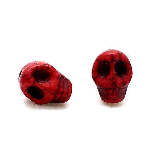 Magnesite Skull Beads • Red • 10x12mm (2) • SKULL12-1210RD | SmokyMountainBeads.com