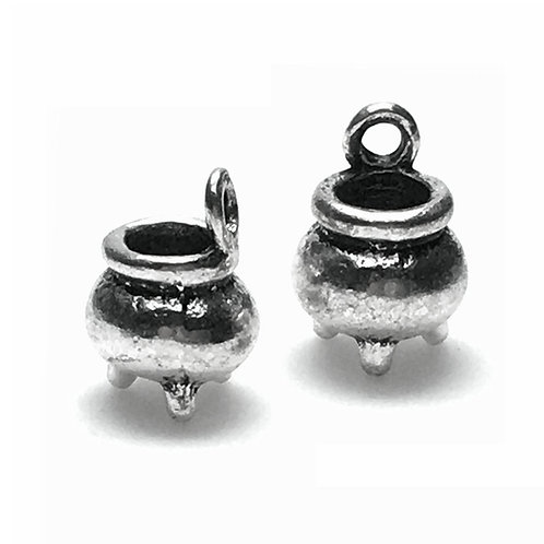 Cauldron Charms • Antiqued Silver (2) • 12x8mm • 26110MTL-1208-12 | SmokyMountainBeads.com