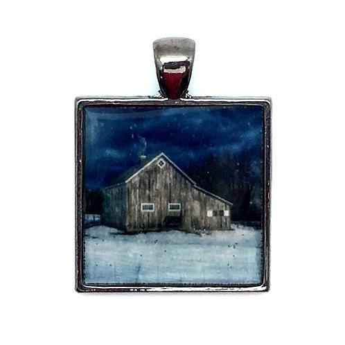 Winter Barn Pendant Resin Necklace • 27x28mm • 56100SL-372813-WNTRBRN | SmokyMountainBeads.com