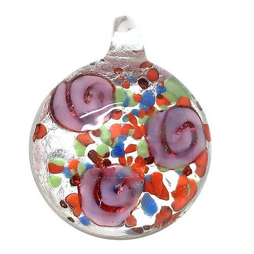 Round Pendant • Vintage Roses Lampwork • 6.3 grams ~ 25x21x10mm | Smoky Mountain Beads