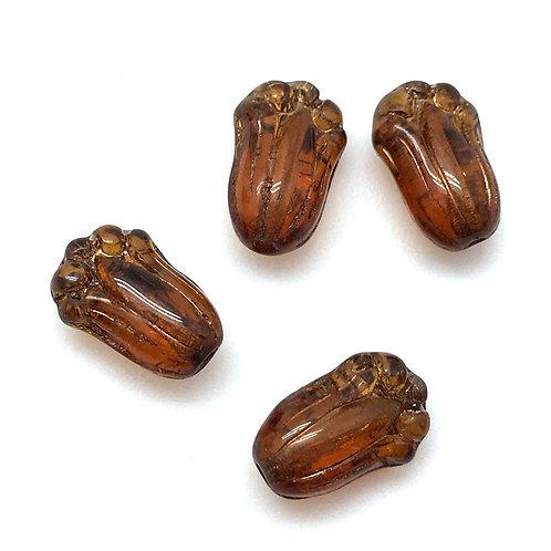Tulips Brown Gold Inlay Czech • 11x8mm • 177-118-G1012 | smokymountainbeads