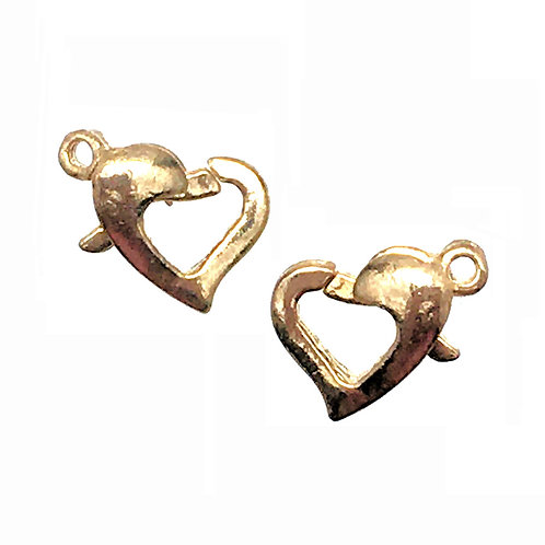 Lobster Claw Heart Clasps • Gold-Plated • 13x9mm • 44LOB-95-1309-25 | SmokyMountainBeads.com