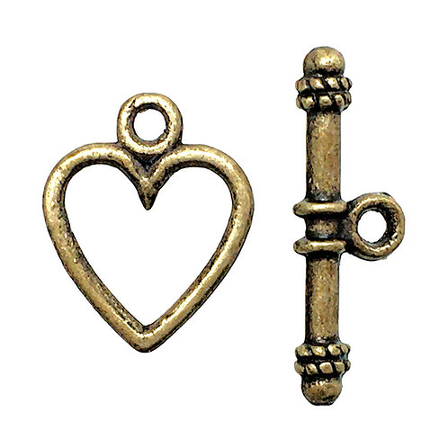 Toggle Clasp • Heart • 14x11mm • Antiqued Brass-Plated Pewter • 44TOG-95-1411-21 | Smoky Mountain Beads