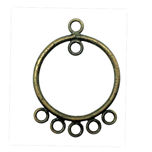 Round Hoop Chandelier • 23x17mm • Antiqued Brass-Plated • 41-702317-6-21   SmokyMountainBeads.com