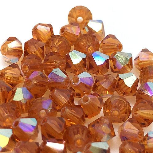 Topaz AB Bicone Thunder Polish Beads • 4mm • 154004TP-6AB | Smoky Mountain Beads