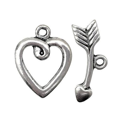 Toggle Clasp • Heart Arrow • 20x16mm • Antiqued Silver-Plated • 44TOG-95-2016-12 | SmokyMountainBeads.com