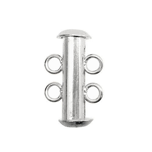 Slide Lock Clasp • 2-Strand • 16x6mm • Silver-Plated • 44SLD-21606-11   Smoky Mountain Beads