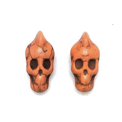 Magnesite Mohawk Skull Beads • Orange (D) • 11x21mm (2) • SKULL-MO-1121OR   SmokyMountainBeads.com
