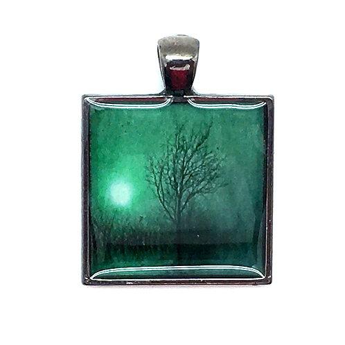 Misty Winter Tree in Green Pendant Resin Necklace • 27x28mm • 56100SL-372813-WNTRG | SmokyMountainBeads.com