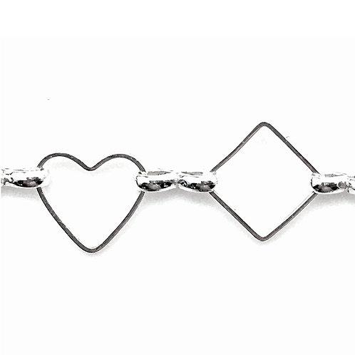 Fancy Chain • Hearts & Diamonds • 10x9x1mm/11x11x1mm • Silver-Plated • 36-F100911-11 | SmokyMountainBeads.com